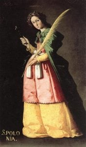 St. Apollonia, patron saint of tooth pain. Francisco de Zurbaran, 1636.
